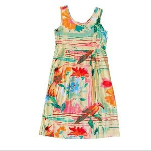 Jams World Printed Dress Tropical Floral Birds L